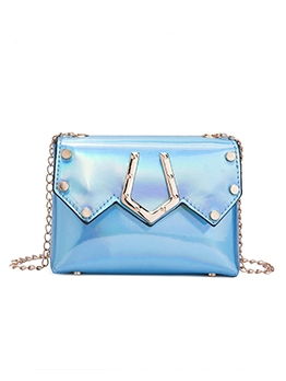 Laser Pu Metal Decorated Chain Crossbody Bags