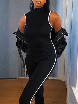 Striped Edges Front Zipper Sport Skinny Jumpsuit