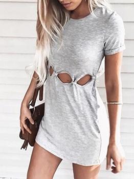 Solid Color Hole Design Short Sleeve Summer Dresses