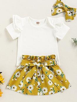 Flower Print Summer Short Sleeve Skirt Set For Girls