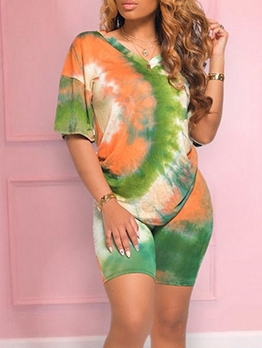 V Neck Tie Dye Short Sleeve Two Piece Outfits
