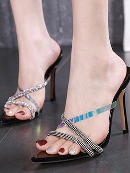 Rhinestone Decor Pointed Toe Heeled Stylish Slippers