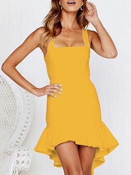 Ruffled Hem Backless Short Sleeveless Dress