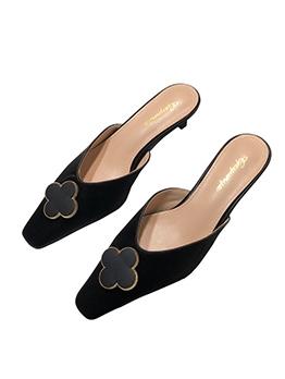 Trendy Flower Patchwork Close Toe Slipper Shoes