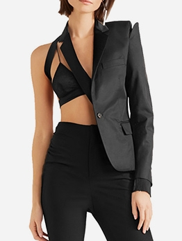 Chic Design Asymmetrical Patchwork Black Blazer