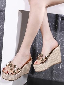 Stylish Rhinestone Decor Slipper Wedge Heels