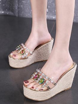 Chic Rhinestone Women Slipper Wedges Shoes
