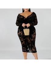 Plus Size Deep V Neck Long Sleeve Lace Dress