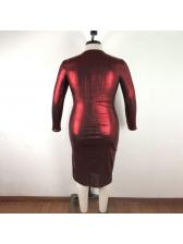 Crew Neck Long Sleeve Burgundy Plus Size Maxi Dress