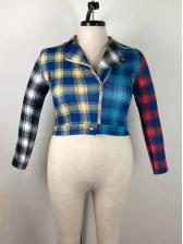 Colorful Plaid Long Sleeve Plus Size Short Blazer