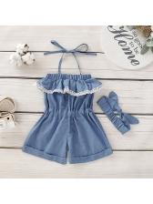 Fashion Smart Waist Halter Denim Romper For Girl