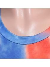 Short Sleeve Crew Neck Tie Dye Two Piece Set