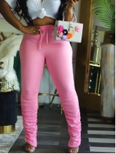 Solid Color High Waist Stacked Pants