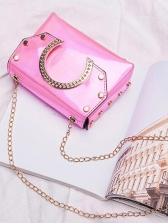 Specular Pu Metal Splicing Women Chain Shoulder Bag