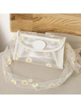 See Through Gauze Flower Lightweight Shoulder Bags