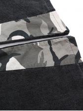 Camouflage Patchwork Elastic Waist Mens Corduroy Pants