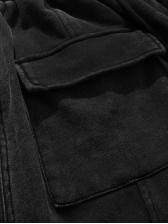 Zipper Pockets Elastic Waist Denim Half Pants