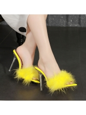 Pointed Open Toe Fluffy Womens Slippers