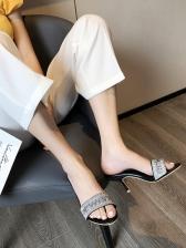 Rhinestone Letter Decor Open Toe Slippers