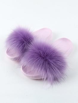 Stylish Faux Fur Patchwork Women Fuzzy Slippers