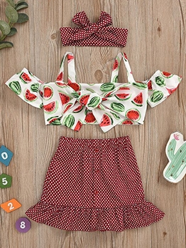 Square Neck Print Three Piece Sets For Girls