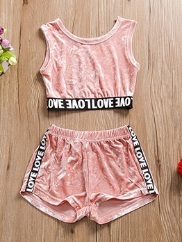 Summer Sleeveless Velvet Sporty Set For Girls