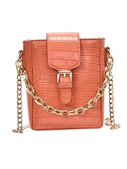 Pure Color Stone Grain Chain Shoulder Bags For Women