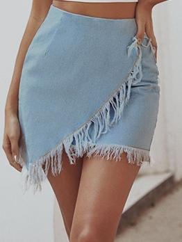 Hot Sale Tassels Irregular Hem Denim Skirt