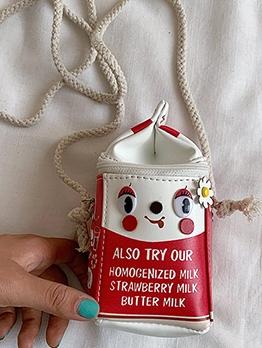 Milk Carton Shape Letter Printed Cute Mini Shoulder Bags