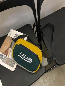 Stitching Color Buckle Strap Nylon Crossbody Shoulder Bag