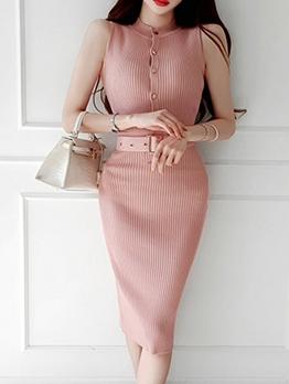 Summer Buttons Up Knit Sleeveless Bodycon Dress