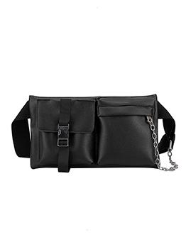 Simple Style Chain Decorated Plain Black Bum Bag