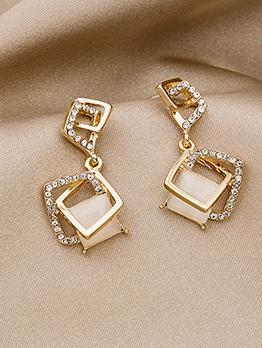 Shiny Rhinestone Square Short Earrings For Women