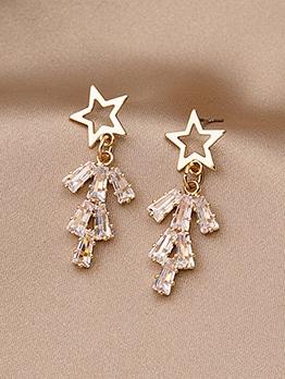 Clear Zircon Pentagram Shape Short Stud Earrings