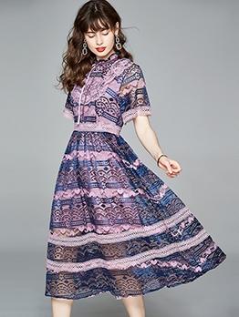 French Style Purple Print Short Sleeve Midi Dress