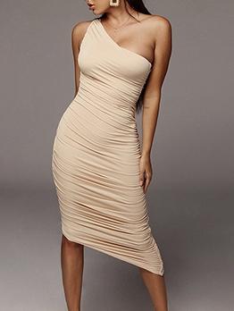 Inclined Shoulder Solid Ruched Summer Dresses
