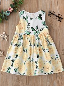 Sleeveless Floral A-Line Summer Dress For Girls