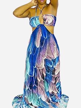 Cut Out Scale Print Halter Neck Floor Length Dress