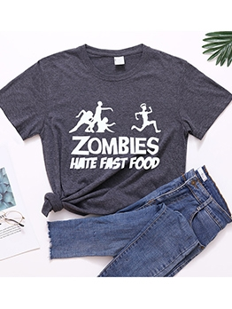 Simple Style Letter Print Cheap T-Shirt
