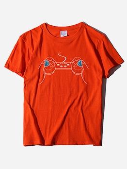 Play Hand Print Loose Short Sleeve Tee For Women