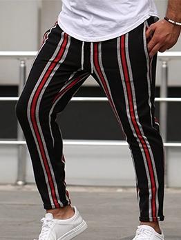 Casual Drawstring Mens Striped Pants
