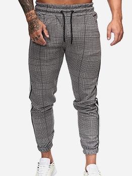 Houndstooth Drawstring Mens Track Pants