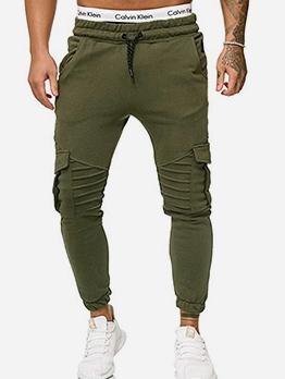 Solid Color Pocket Drawstring Track Pants