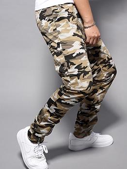 Casual Drawstring Zipper Hem Camo Pants