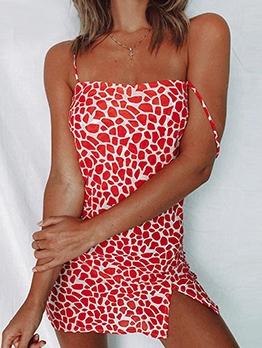 Trendy Leopard Print Short Sleeveless Dress