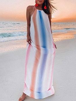 Iridescent Color Sleeveless Chiffon Maxi Dress