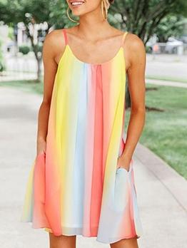 Iridescent Color Loose Chiffon Sundress