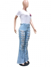Trendy Mid Waist Distressed Bootcut Jeans