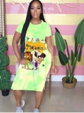 Tie Dye Cartoon Print Short Sleeve Midi Dress