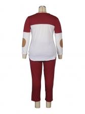 Contrast Color Long Sleeve Plus Size Two Piece Sets